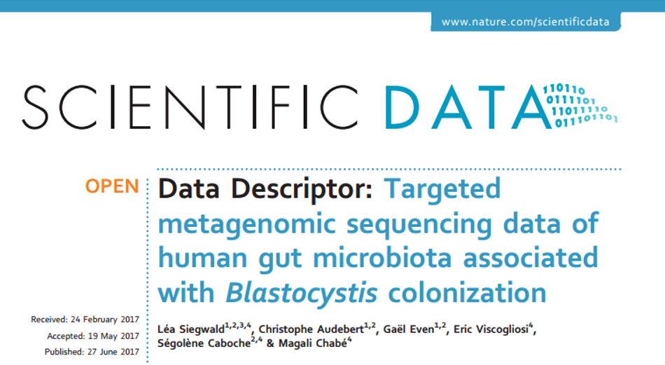 Targeted metagenomic sequencing data of human gut microbiota associated with Blastocystis colonization